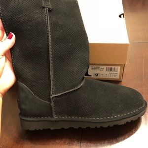 UGG perforated black boots